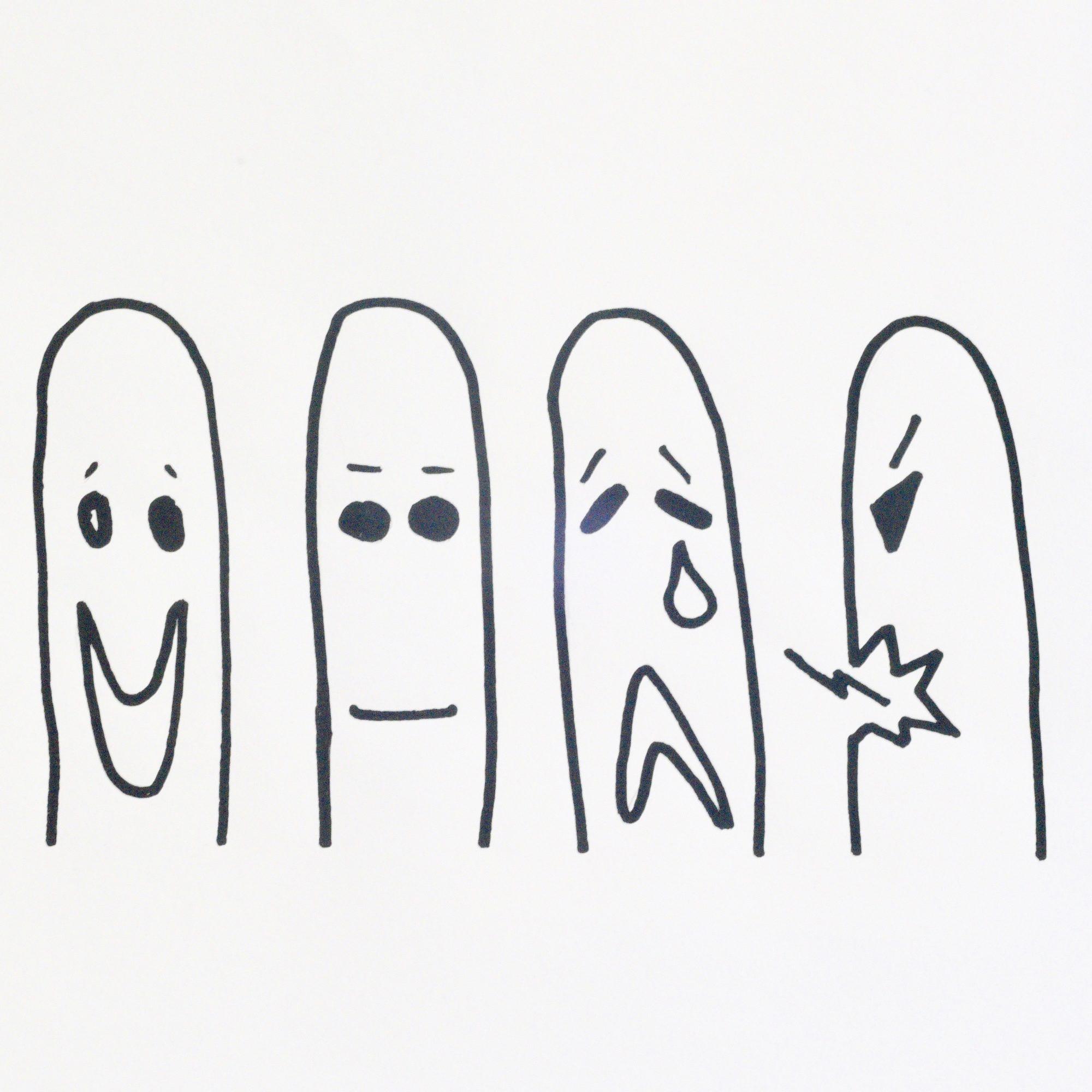 Dessin de 4 personnages caractérisant différentes émotions